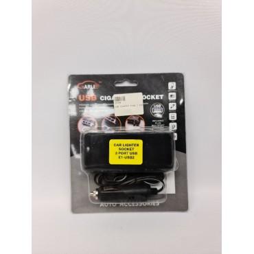 CAR LIGHTER PLUG 3 PORT 2 USB